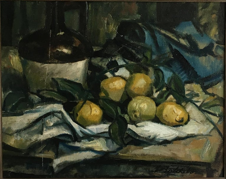 "JONATHAN DAVID BATCHELOR Still-Life Painting - Jonathan David Batchelor ""Still life with Lemons"" Painting"