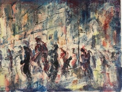 "William Arthur Lewis ""Fall Rains, 1954"" Street Scene Watercolor and Ink on Paper"