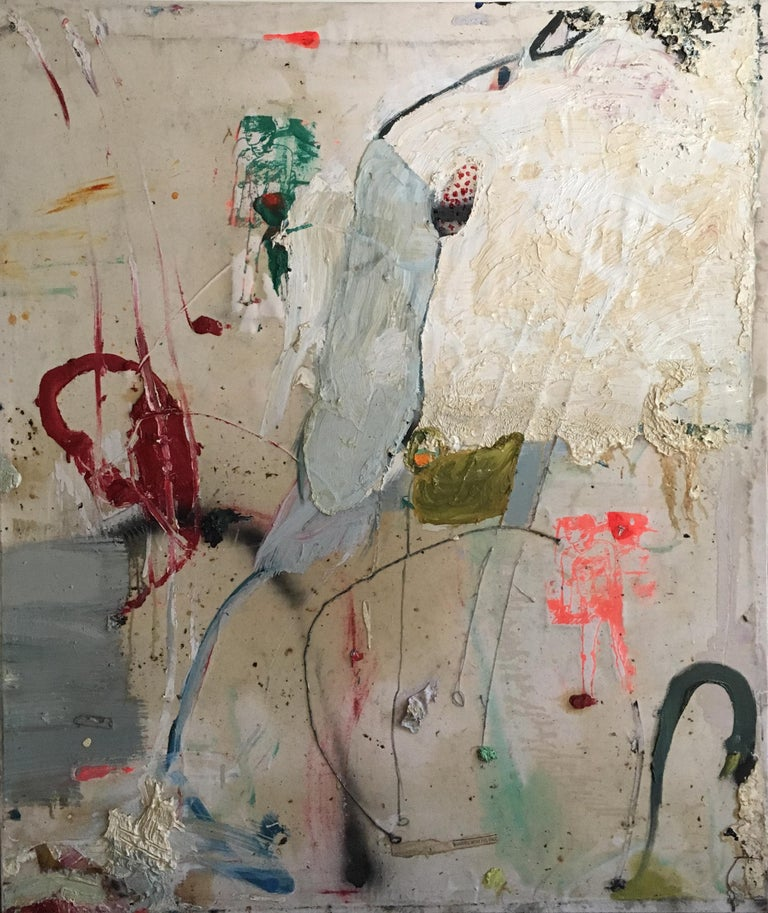 Christian Spruell (American, born 1971) Samson and Dilouadid, 1995 Multi Media oil, spray paint, silkscreen on canvas Signed on the verso Unframed 50.5in H x 42.5in L 2in D  Various layers of coverage from bare canvas to extremely thick impasto.