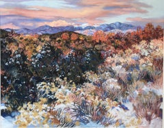 Maggie Muchmore 'Southwest Snow Dust' Pastel Drawing Landscape