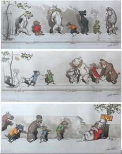 Set of three French  'The Dirty Dogs of Paris' hand colored signed prints