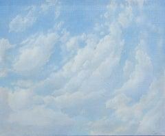 Jan Harr 'Cloud studies' oil on canvas painting