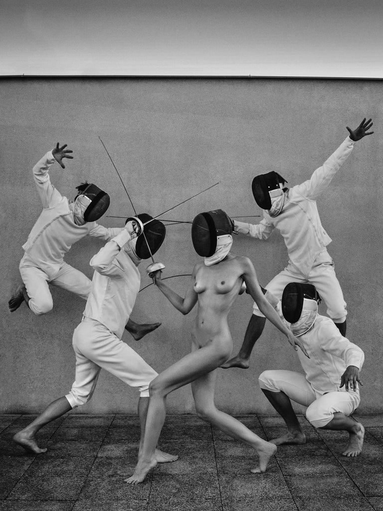 "Fencers 1 Original photography Edition 3/5 by Lukas Dvorak   32"" x 24"" inch  Pigment print on Epson Fine ART paper 2015  Ships rolled in a tube   ABOUT THE ARTIST Lukas Dvorak is a Czech photographer born in Prague in 1982. His preference goes to"