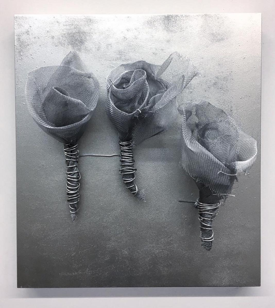 """""""ROSES SILVER"""" Sculpture 19"""" x 17"""" x 7"""" inch by Melanie Newcombe"""