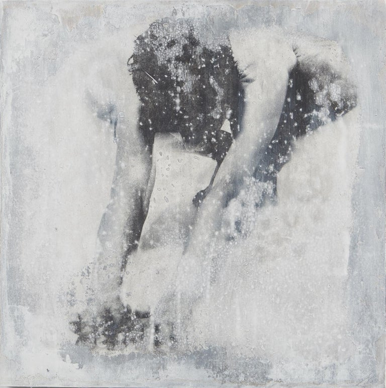 """Untitled: Movement 1"" by Ben Cope 2019 Photo on deconstructed paper on wood panel with oils and paint pigments  24"" X 24"" inch  Ben Cope is a Georgia native graduating from Columbus State University with a BFA in ceramic sculpture and photography."