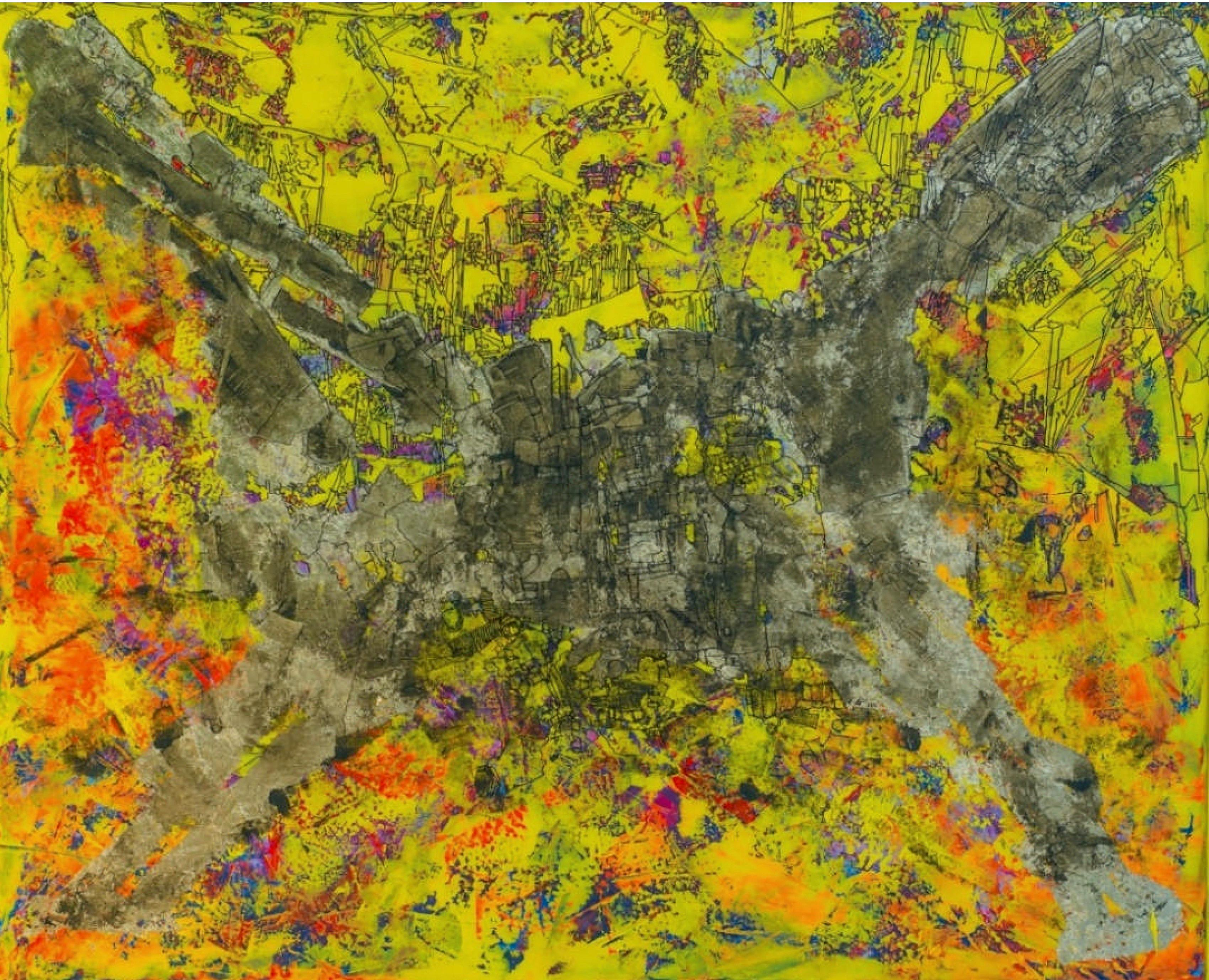 """""""The Gray Invasion"""" Mixed Media canvas on board 61'x75'in. by Ahmed Farid"""