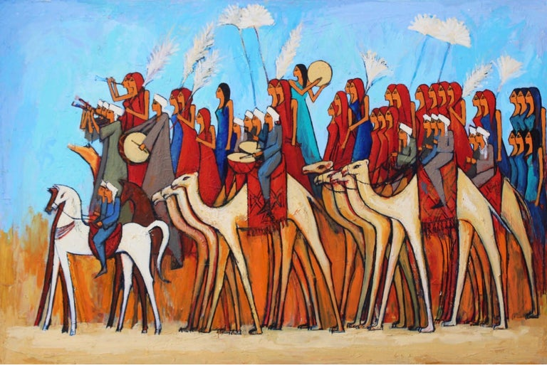 """""""Camel Riders"""" Acrylic painting 39""""x59""""in. by Alaa Awad   Alaa Awad is an Egyptian artist and muralist based in Luxor, Egypt.  Awad is an Egyptian artist and is also known for his public murals in Cairo and Luxor, Egypt. He is well known for his"""