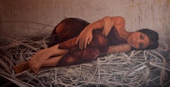 """Pile of Hay"" Oil painting 37""x71""inch by Sarah Tantawy"