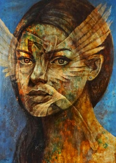 """The Face"" Mixed media Painting 71""x47"" inch by Karim Abd Elmalak"