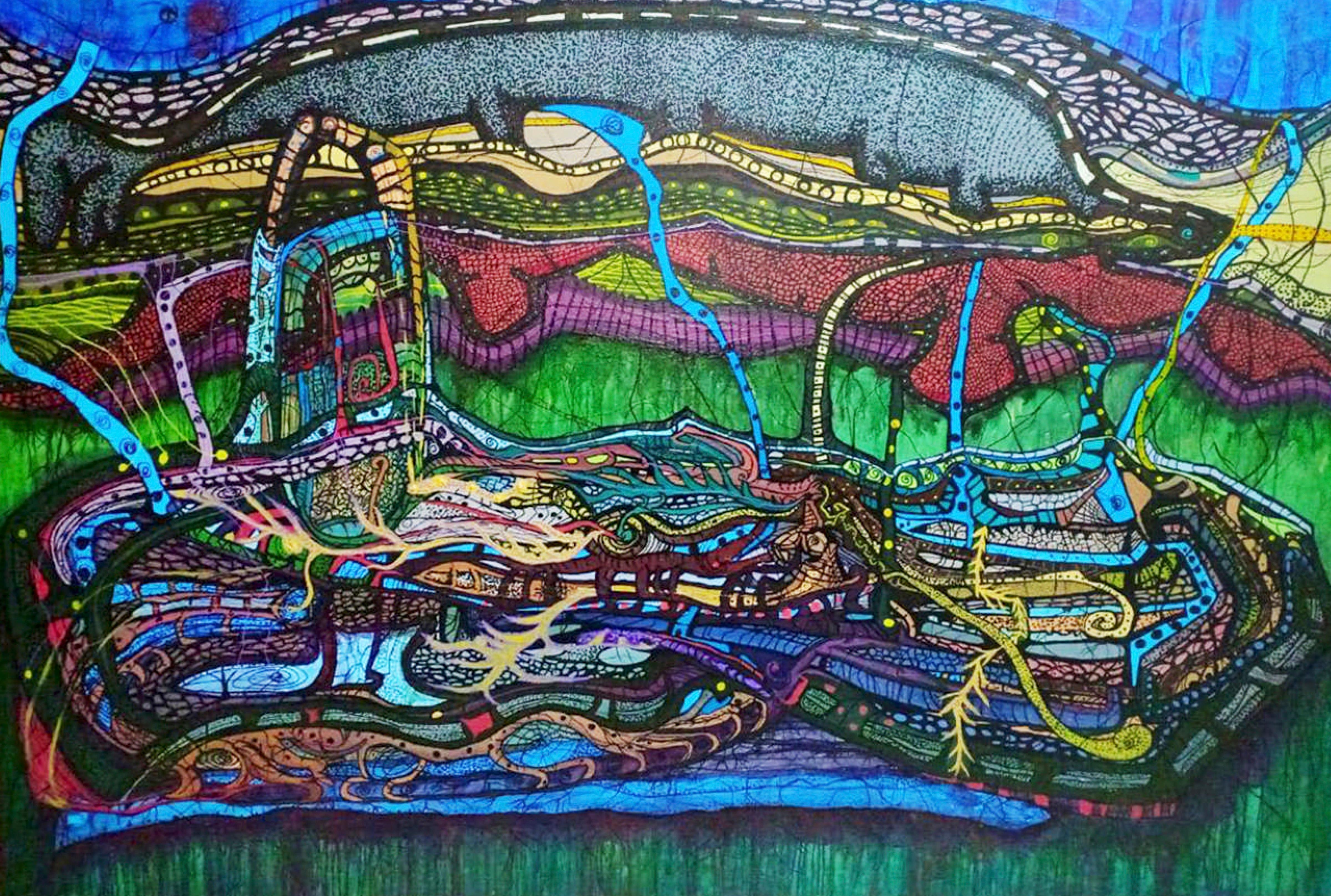 """Vertical Landing"" Acrylic & Inks painting 55""x71"" inch by Ghaidaa Ashraf"