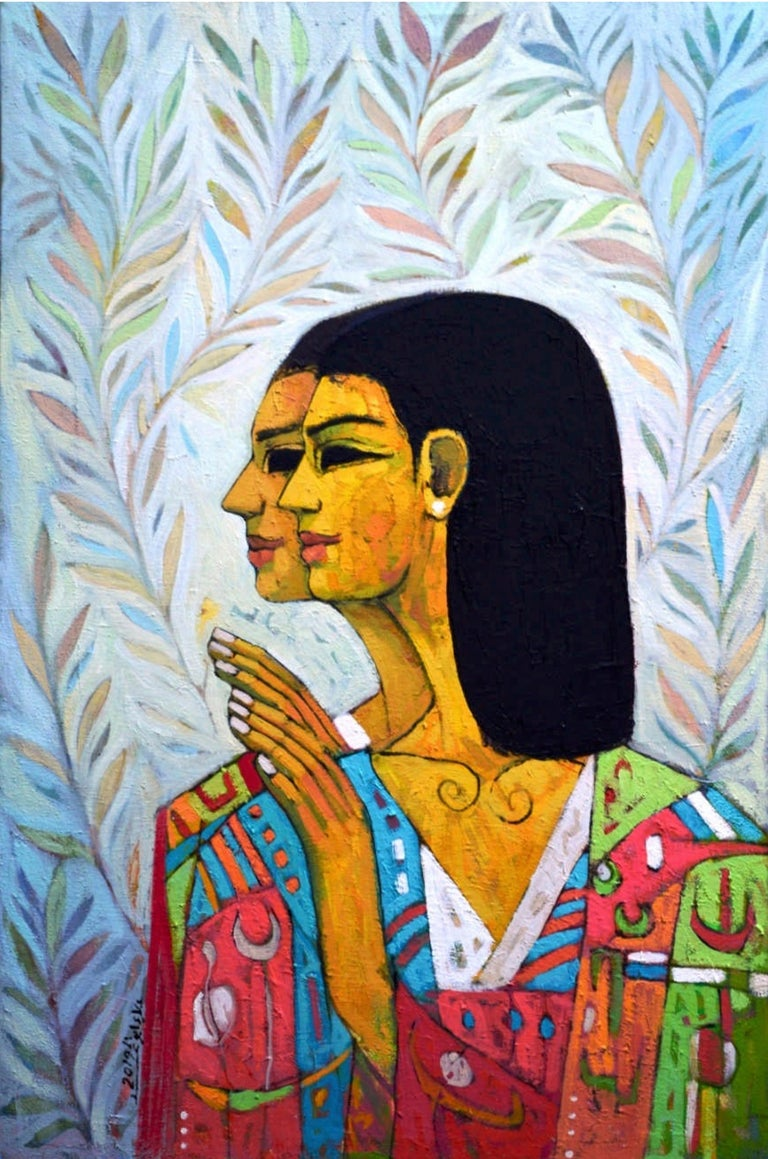 """Paradise Gardens"" Oil painting 32""x20"" inch by Alaa Abu Elhamd  Alaa Abo El-Hamd transports you to the inside of an ancient Egyptian tomb. The artist skillfully manipulates paint, contrasting the ethereal faces with patterned backgrounds. We are"