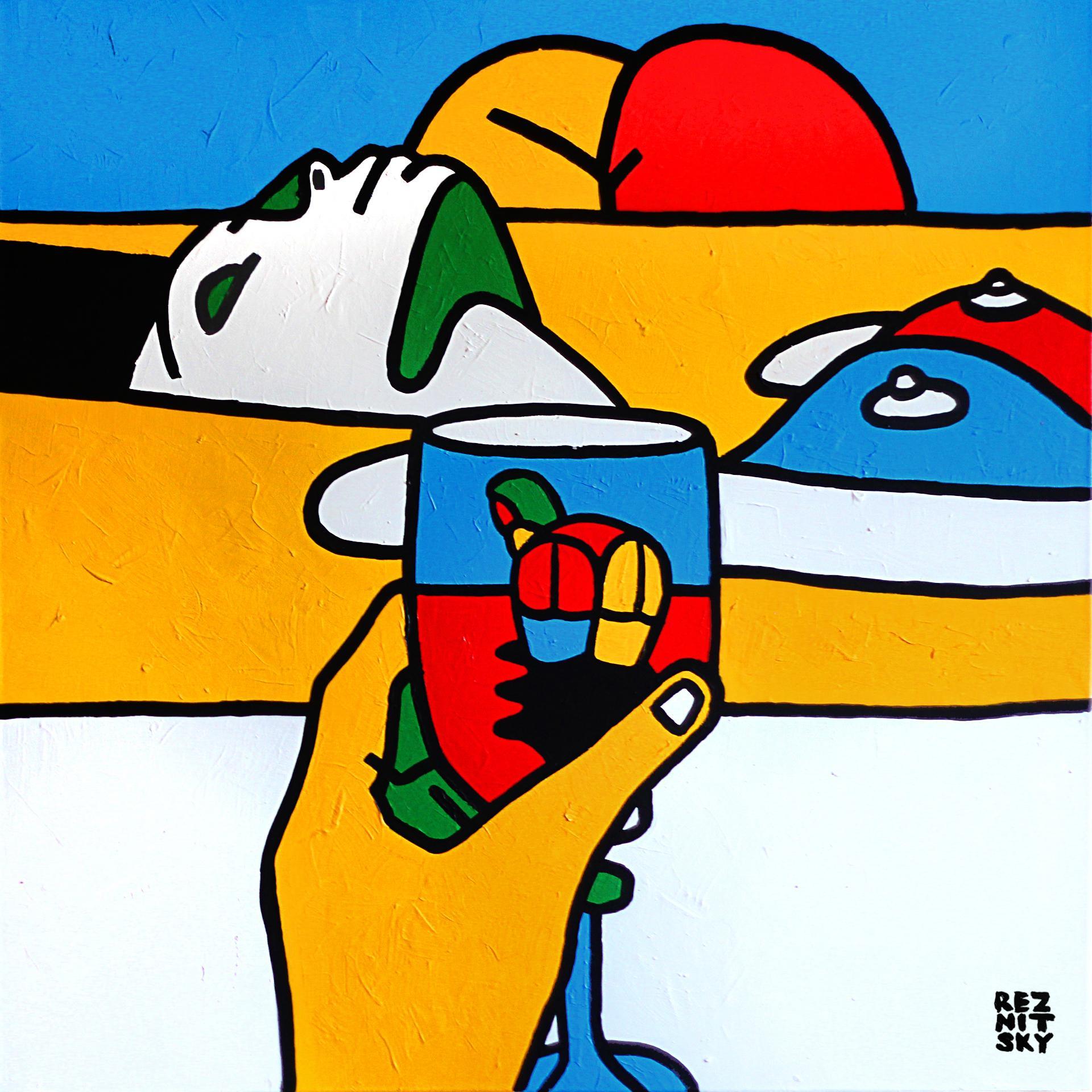"""Hills of the Desert"" Acrylic Painting 39"" x 39"" inch by Roman Reznitsky"
