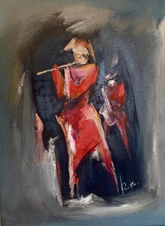 """Musicians. Flute"" Oil Painting 31"" x 23"" inch  by Raphael Aslanyan"