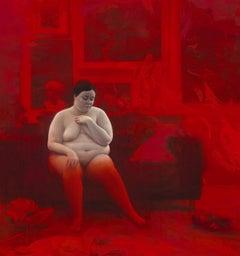 """Abril"" Oil Painting 37"" x 37"" inch by Jordi Diaz Alamà"