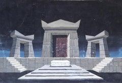 """King Lear"" Watercolor on carton Painting 9"" x 13"" inch by Salah Abdel Kerim"