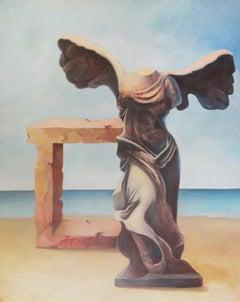 """Greek God I"" Oil & Coal Painting 71"" x 55"" inch by Hussein Zahran"