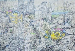"""Cairo"" Mixed Media Painting 28"" x 39"" inch by Ramzi Mostafa"