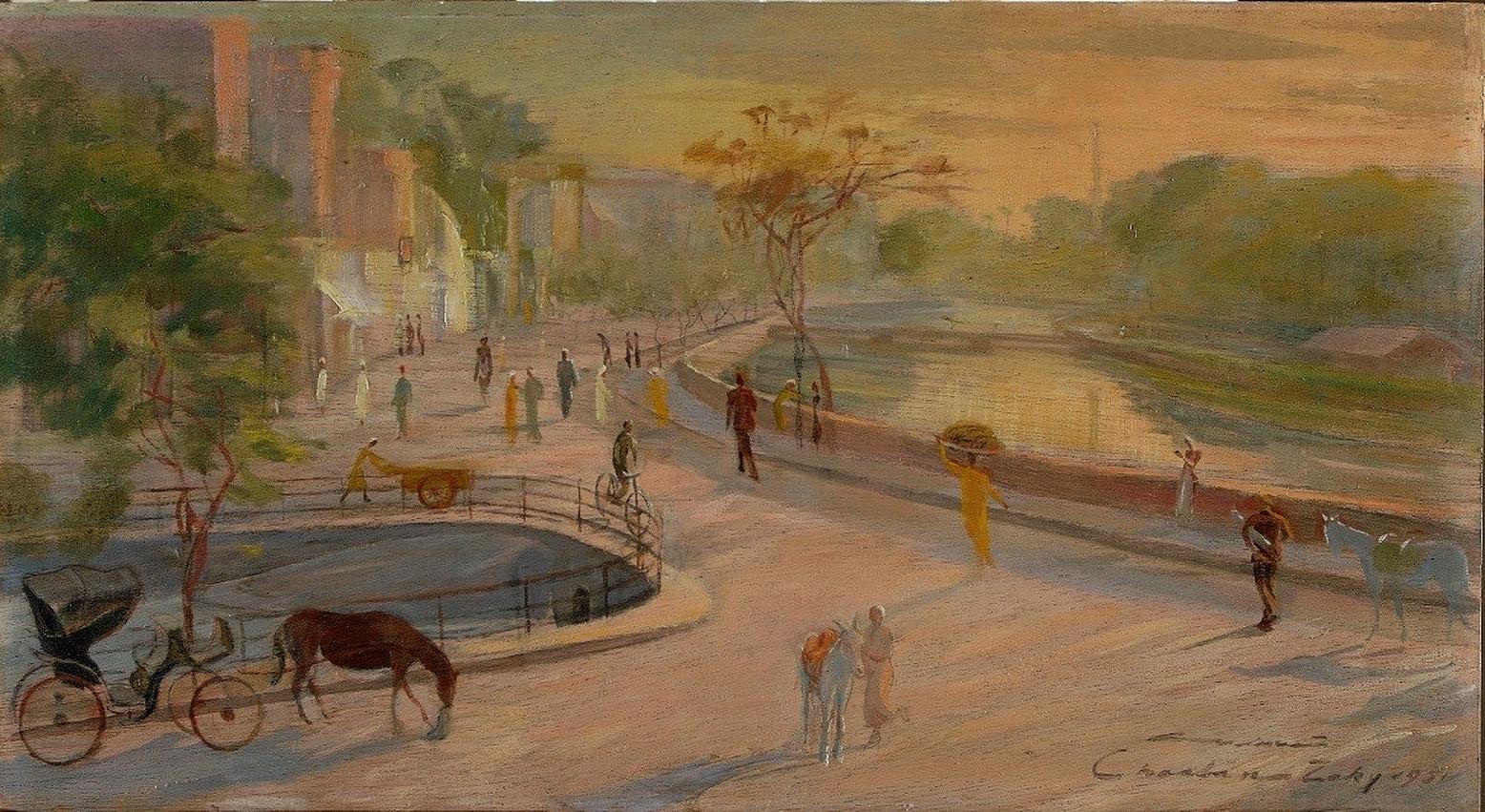 """Ain El Selin in Fayoum"" Oil Painting 14"" x 26"" inch by Shaaban Zaki"