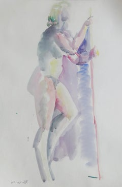 """""""Bather III"""" Watercolor Painting 24"""" x 17"""" inch by Kawkab Youssef"""