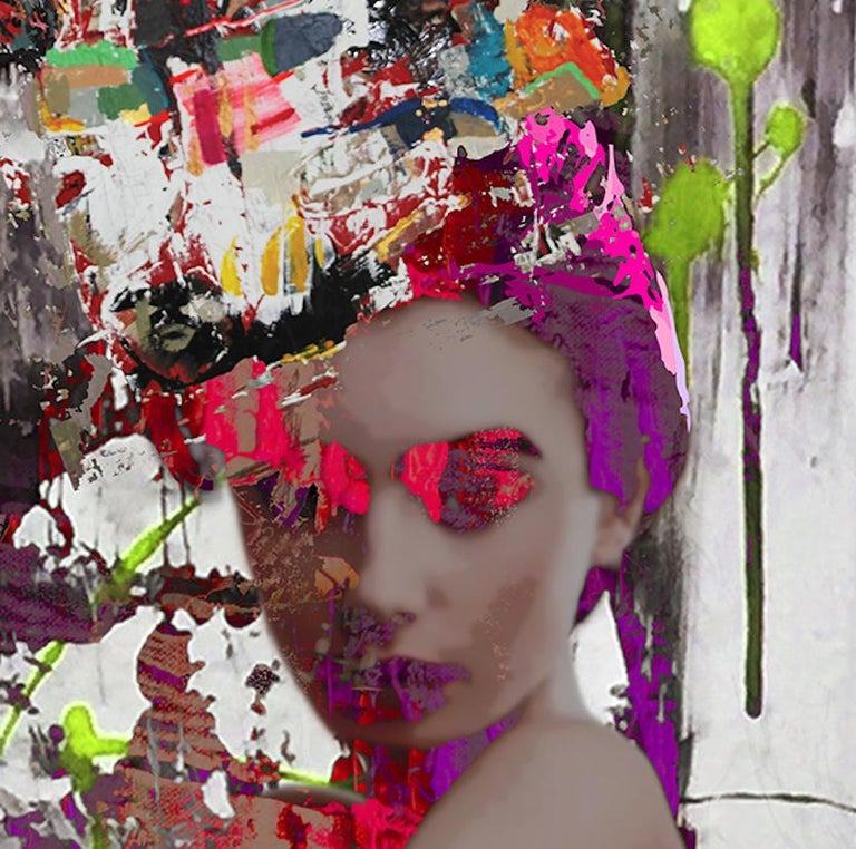 Hand Painted Limited Edition C Print. 1/7 Numbered and signed by the Artist Work sold with a certificate of authenticity Comes in a white wooden frame and plexiglass   Hossam Dirar is an Egyptian contemporary artist based in Barcelona, Spain.  He