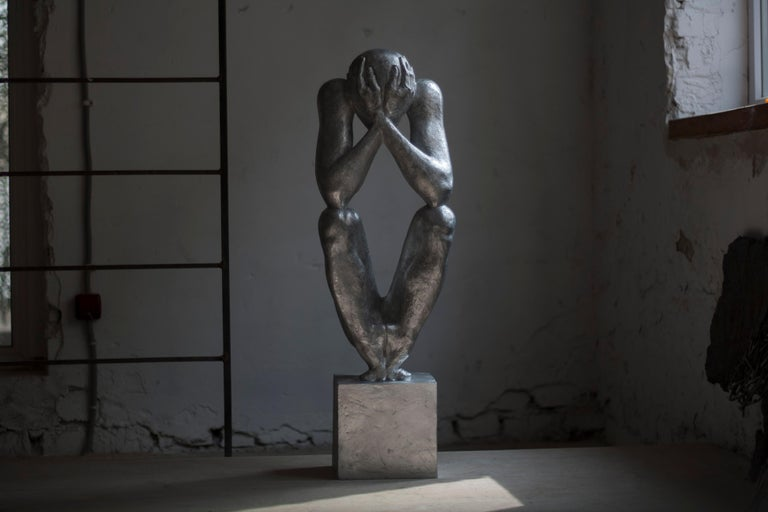 """№1 Aluminum Sculpture 34.6"""" x 13"""" x 10"""" in. Edition 3/5 by Sergii Shaulis    From """"The man without a rod"""" series  Approximate weight 40 lbs    The artist spent almost ten years of his life in the making of this eight-piece series. It is an"""