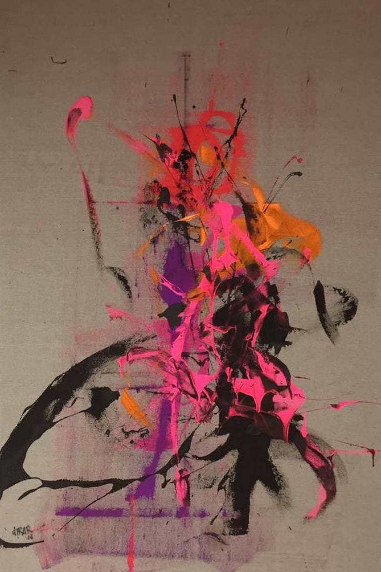"Hossam Dirar ""Dancing with"" acrylic on linen painting  - Painting by Hossam Dirar"