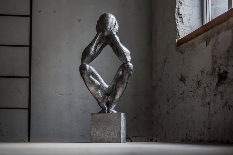 """№2 Aluminum sculpture Edition of 5 by Sergii Shaulis  From """"The man without a rod"""" series Edition of 5 Aluminum. Approximate weight 37lbs   The artist spent almost ten years of his life in the making of this eight-piece series. It is an"""