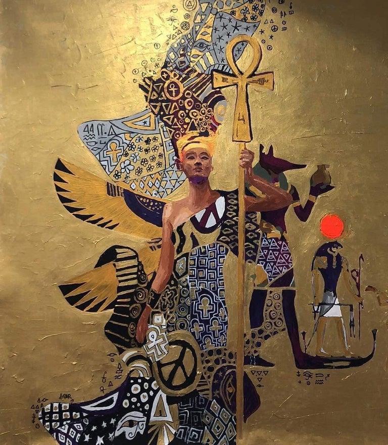 "Hossam Dirar ""The Golden World"" acrylic on canvas painting - Painting by Hossam Dirar"