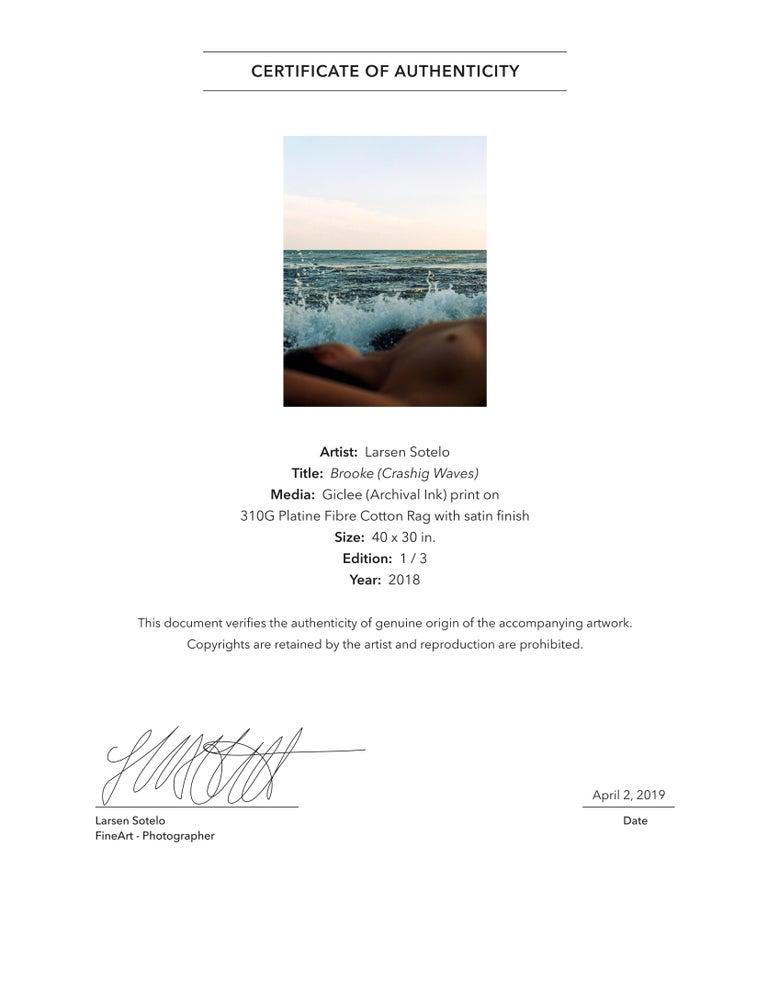 Brooke (Crashing Waves) Original photography Edition of 3 by Larsen Sotelo For Sale 4