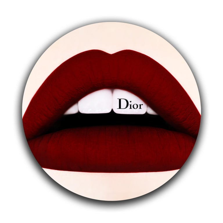 """DIOR Lips 34"""" x 34"""" x 1"""" inch  Edition of 8 Printed on Fujiflex paper  1 inch Museum Acrylic face Mount + 1/8"""" Aluminum back mount  Hand Polished Edges + Metal Linner on back  34 INCH DIAMETER  LIPS series  Love Impetuous Passion Sensuality"""