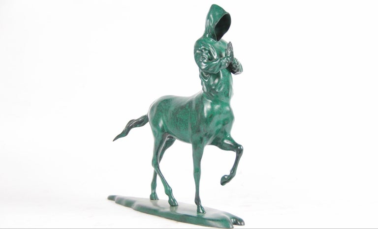 """""""On My Way"""" Bronze Sculpture Edition of 25 by Huang Yulong  Bronze 13 4/5 × 13 4/5 × 13 4/5 in 35 × 35 × 35 cm Edition of 3/25  Available in different colors   ABOUT THE ARTIST Huang Yulong was born in 1983 in Anhui Province, China. In 2007 he"""
