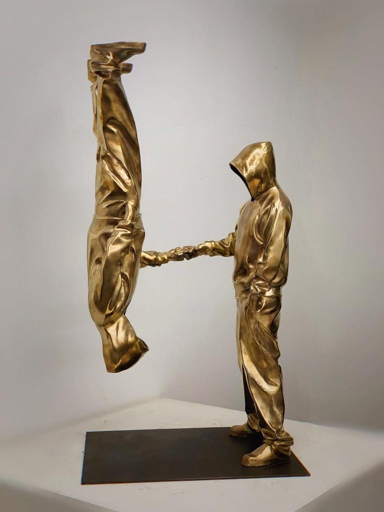 YoBro!! Bronze sculpture Edition 2/8 by Huang Yulong  YoBro!!  2018 Bronze sculpture  38 3/5 × 11 4/5 × 18 9/10 in 98 × 30 × 48 cm Edition of 2/8  ATT: handling time might take up to 3 weeks! Heavy item!  ABOUT THE ARTIST Huang Yulong was born in