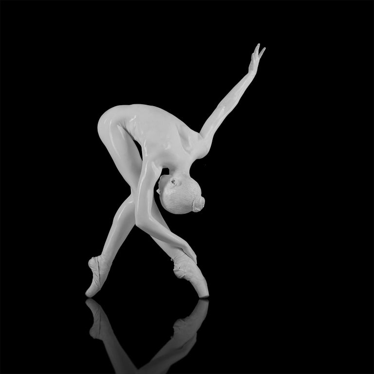 No title (No 43)  Photography  Edition of 25 (32 x 32 inch) by Yevgeniy Repiashenko Year photo was taken: 2018  This picture is a part of Spirit series. The picture shows the frozen movement of the dancer.  White body make-up is put on the dancer's