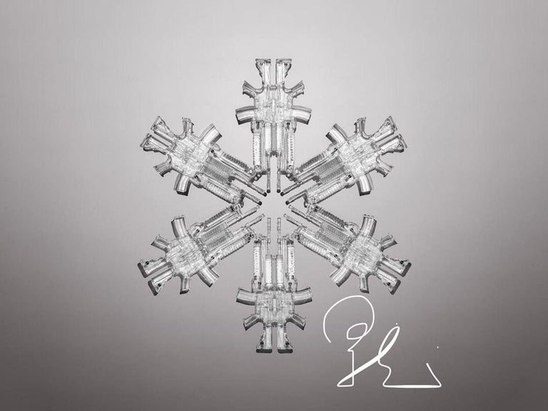 """""""Snowflake 3""""  Limited edition sculpture by Huang Yulong 2017 Glass 47 1/5 × 47 1/5 × 1 1/5 in 120 × 120 × 3 cm Edition of 8  SNOWFLAKE SERIES  Overwhelmed by the outbursts of terror and violence that have been recently happening across the world,"""