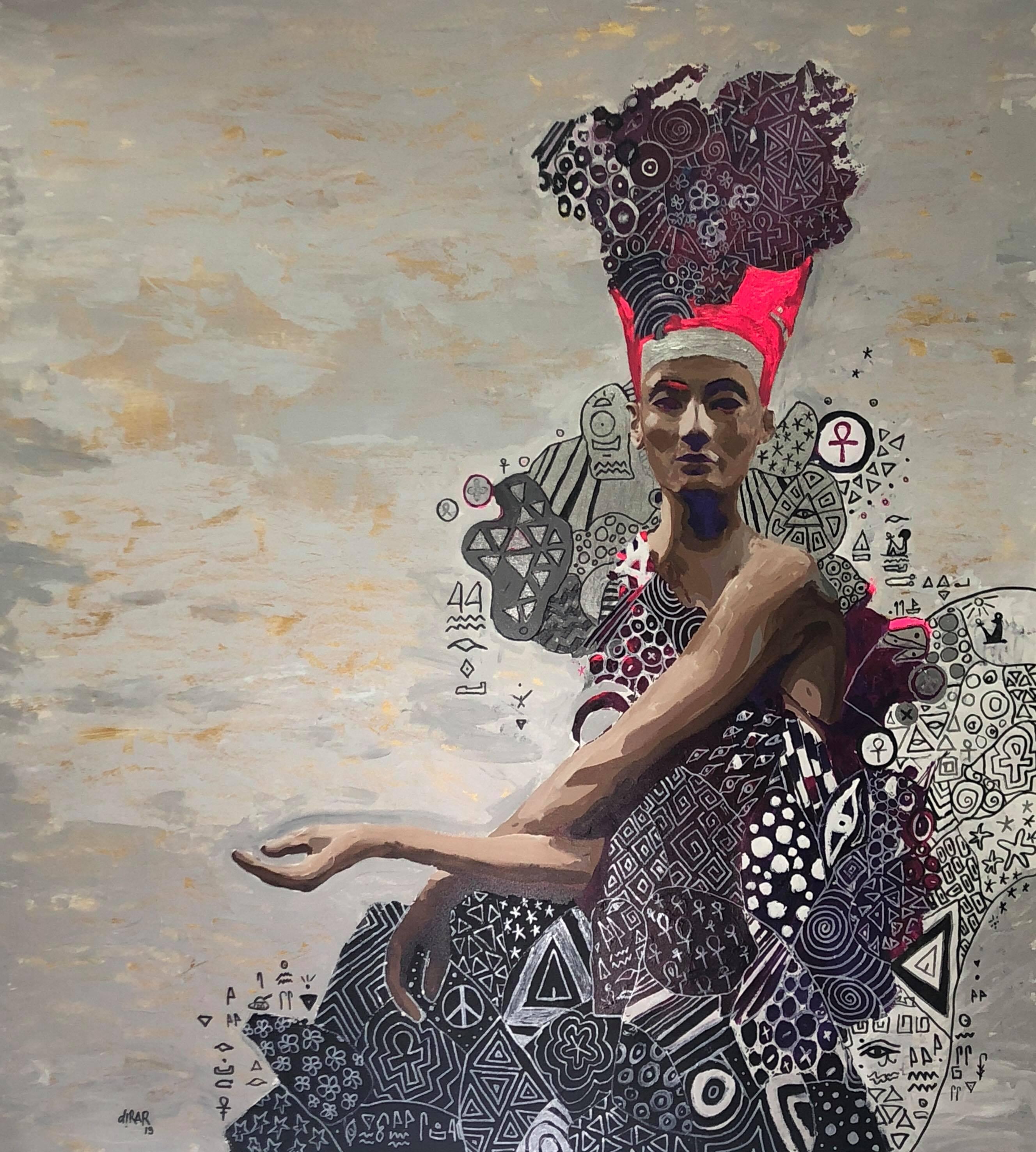 """Nefertiti, looking for"" painting by Hossam Dirar"