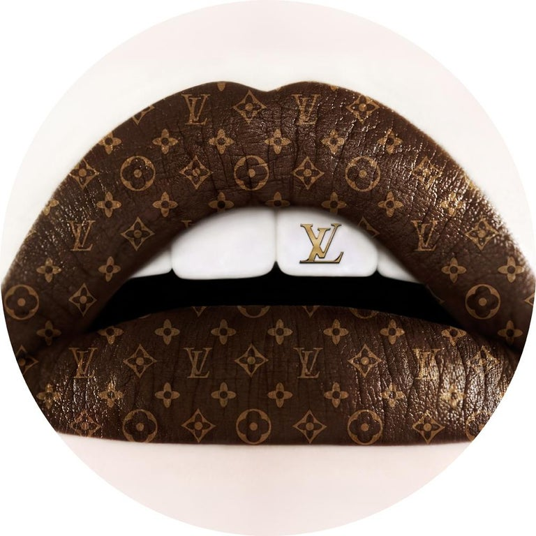 """Louis Vuitton XL Lips 50"""" x 50"""" x 2"""" inch  Edition of 8 Printed on Fujiflex paper  1 inch Museum Acrylic face Mount + 1/8"""" Aluminum back mount  Hand Polished Edges + Metal Linner on back  50 INCH DIAMETER  LIPS series  Love Impetuous Passion"""
