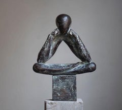 """The man without a rod C"" Bronze Sculpture by Sergii Shaulis"
