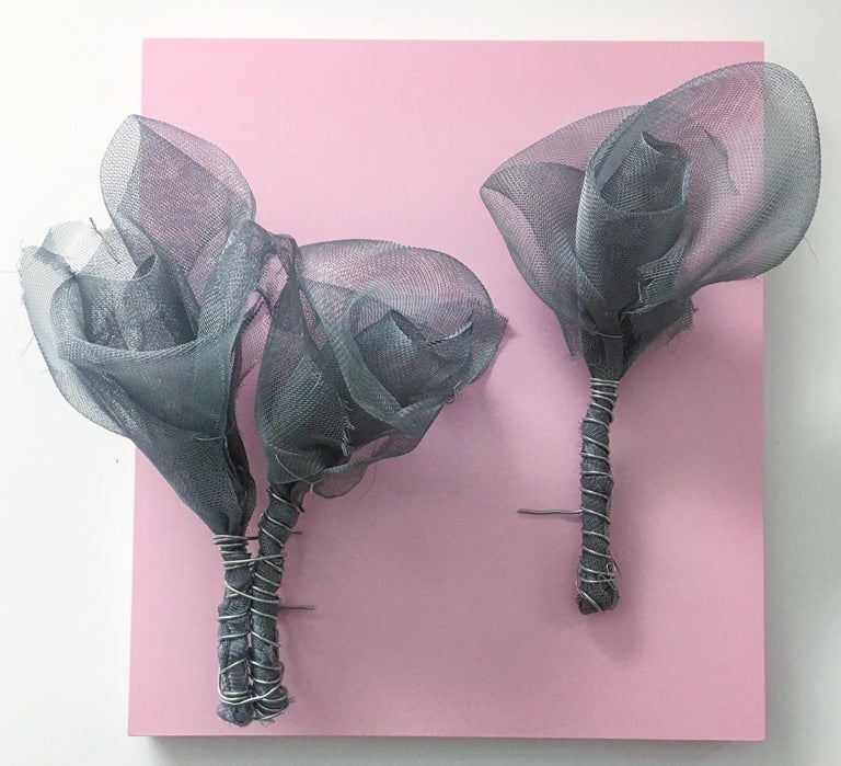 "ROSES (pink) PASSION sculpture 19"" x 17"" x 7"" inch by Melanie Newcombe  Aluminum window screen, aluminum wire, wood, paint  2018  * * * Melanie Newcombe * * * * * Artist Statement * * I am perpetually pushing materials toward innovative structures,"