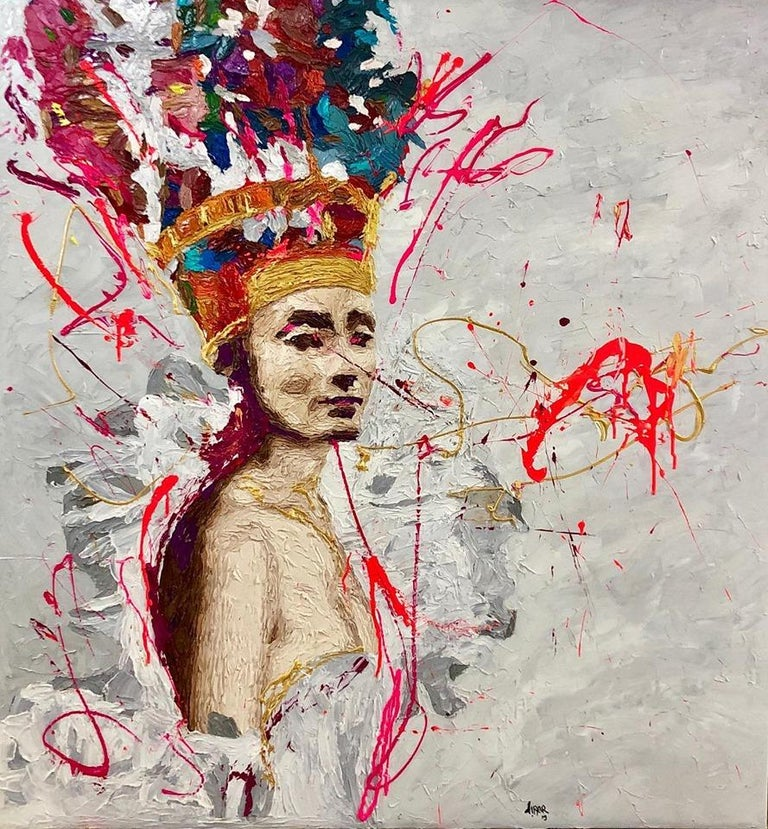 """Golden Queen Nr. 11""  oil painting by Hossam Dirar  from Golden Queen series, 2019 Oil on canvas  47 × 44 in 120 × 112 cm  The Golden Queen The Golden Queen is the second part of the famous ""Nefertiti"" series by Hossam Dirar. A palette of colorful"