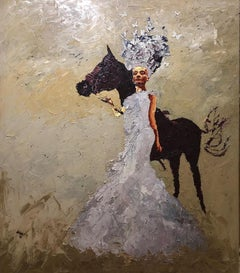 """Golden Queen Nr. 10"" Oil painting by Hossam Dirar"