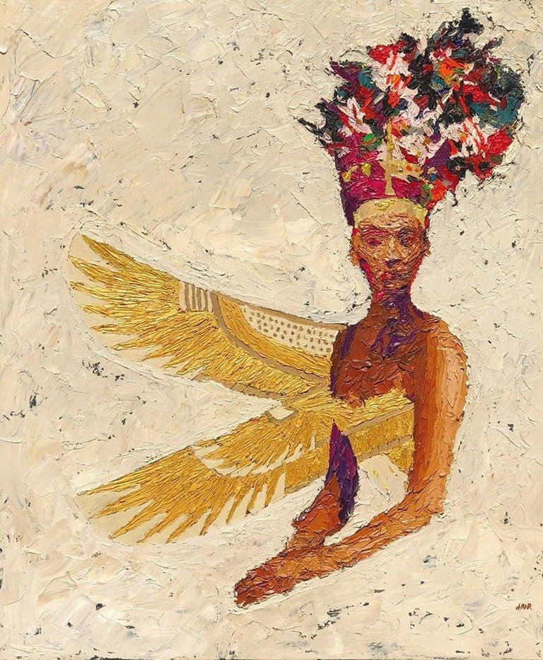 """""""Golden Queen Nr. 8""""  oil painting by Hossam Dirar  from Golden Queen series, 2019 Oil on canvas  43"""" × 33"""" inch   The Golden Queen The Golden Queen is the second part of the famous """"Nefertiti"""" series by Hossam Dirar. A palette of colorful florals"""