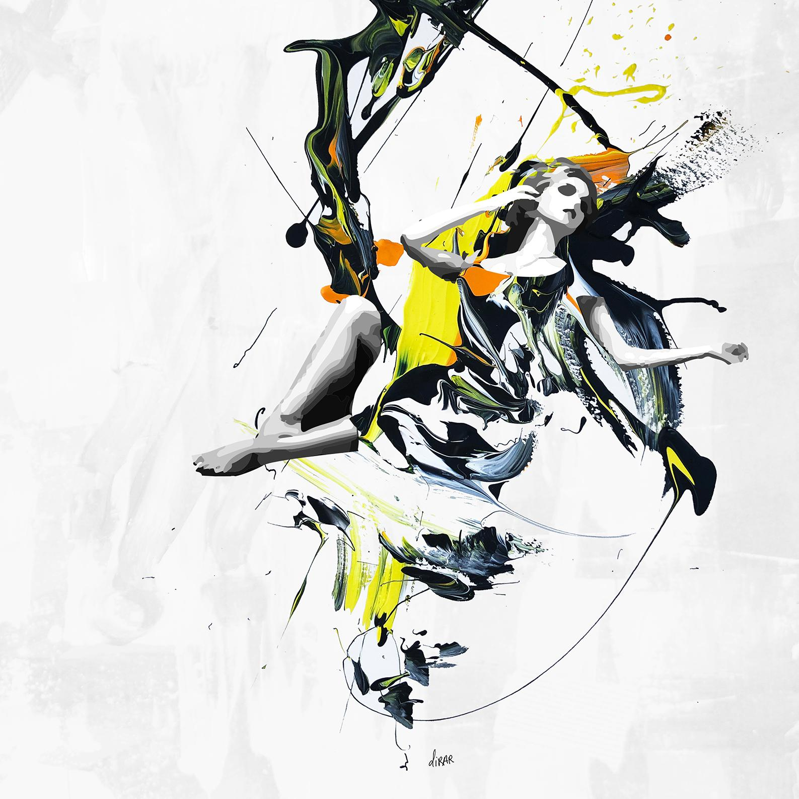 """""""Fly with Dreams"""" Mixed media painting 39.5'x39.5' inch by Hossam Dirar"""