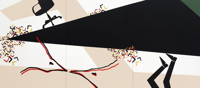 """""""Precarious II"""" Acrylic on canvas Painting (Triptych) 48""""x108""""in by Ty Joseph From 7 L's series  2017  Comes with a beige wooden floater frame   * * * The meaning of L series * * * Although influenced by Pop Art, with its bold, eye-catching images"""