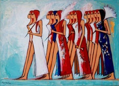 """Marching Women"" Acrylic Painting 38""x51""inch by Alaa Awad"