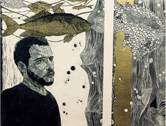 """Man with Fish"" Diptych Engraving on Woodcut 32""x38""inch by Ahmed Saber"