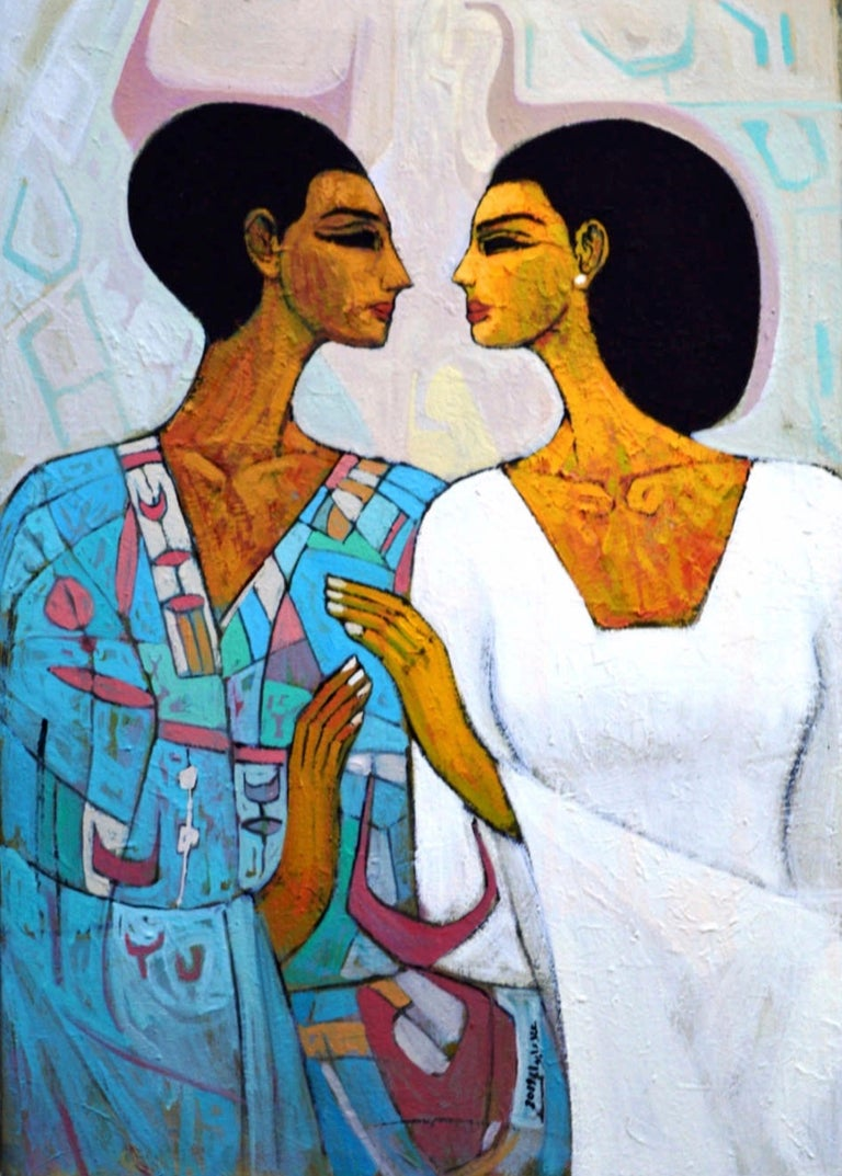 """""""With My Beloved"""" Oil painting 28""""x20"""" inch by Alaa Abu Elhamd  Alaa Abo El-Hamd transports you to the inside of an ancient Egyptian tomb. The artist skillfully manipulates paint, contrasting the ethereal faces with patterned backgrounds. We are"""