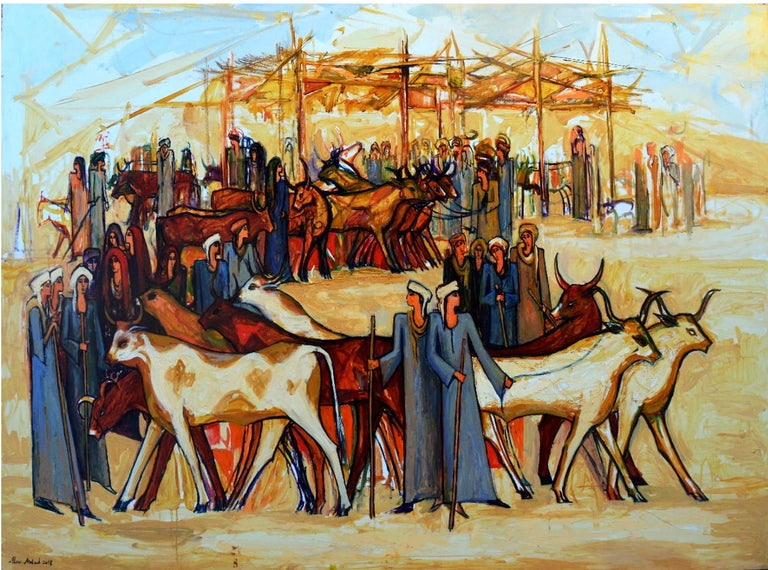 """""""Cattle Market 1"""" Acrylic painting 55""""x77""""inch by Alaa Awad   Alaa Awad is an Egyptian artist and muralist based in Luxor, Egypt.  Awad is an Egyptian artist and is also known for his public murals in Cairo and Luxor, Egypt. He is well known for his"""