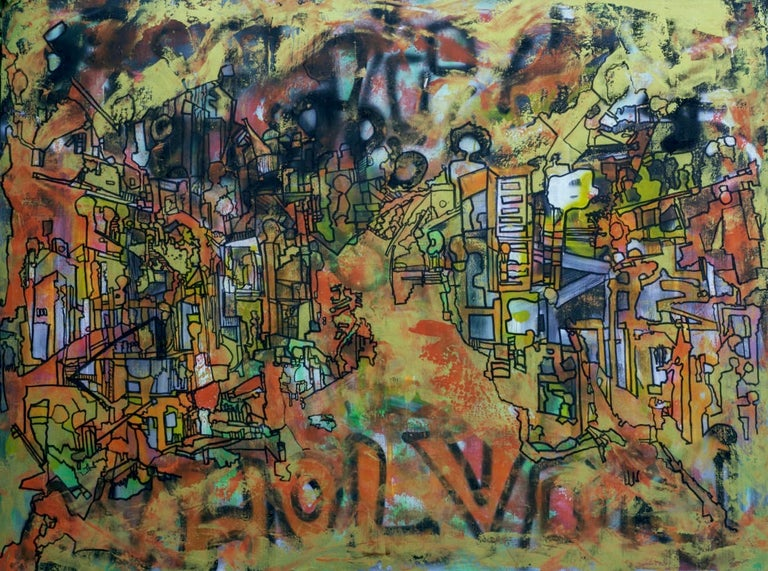 """""""Untitled"""" Mixed Media on canvas 59"""" x 75"""" inch by Ahmed Farid   Born in Cairo, Egypt, in 1950 where he currently lives and works, Farid is an autodidact Egyptian painters who trained privately in immersion apprenticeship in established artists'"""