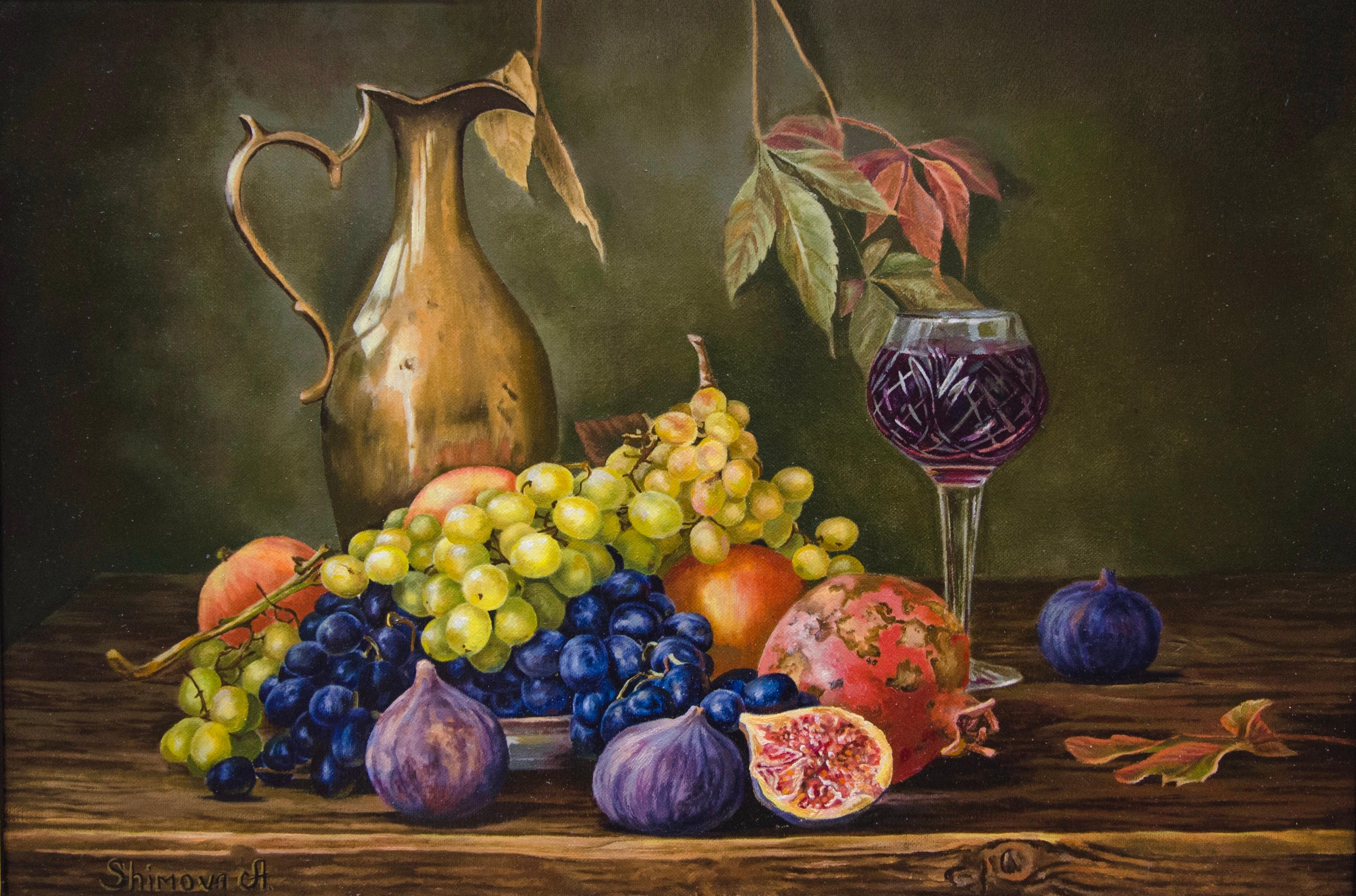 """""""Grapes and Whine"""" Oil painting 16 x 24 inch by Alina Shimova"""