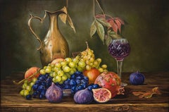 """Grapes and Whine"" Oil painting 16 x 24 inch by Alina Shimova"